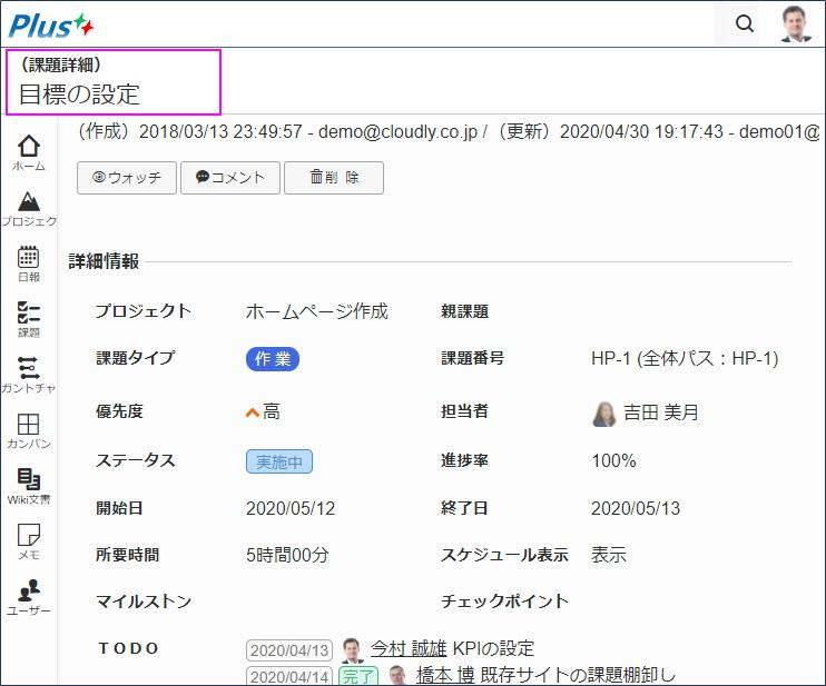 コメントが送付されたプロジェクト/課題/Wiki文書ページが表示される