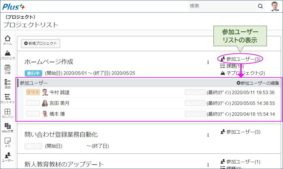 「参加ユーザー」リンクをクリックすると「参加ユーザー」リストが表示される