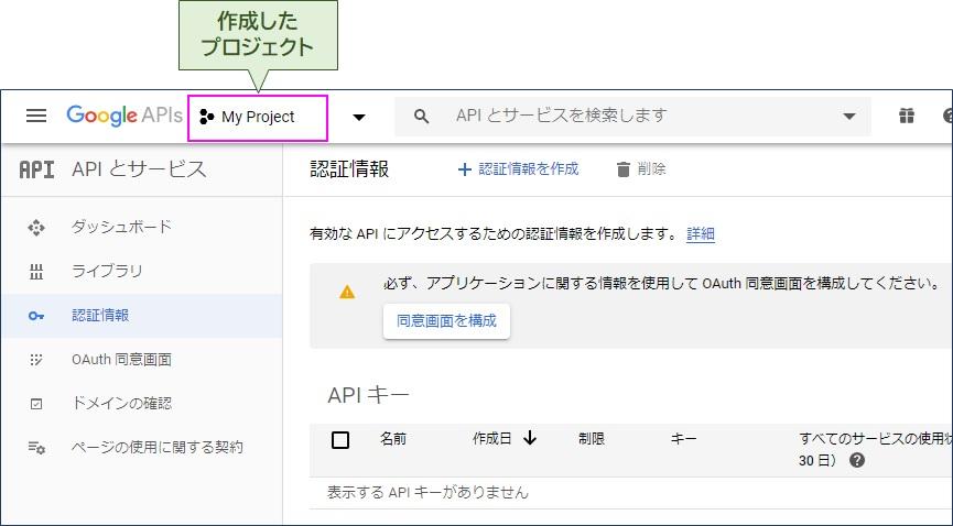 プロジェクトが登録される